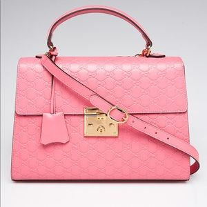 Pink Guccissima Leather Medium Signature Padlock