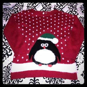 Red Penguin Snowy Sweater