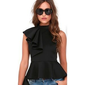 'Juliana' Side Ruffle Peplum Top In Black