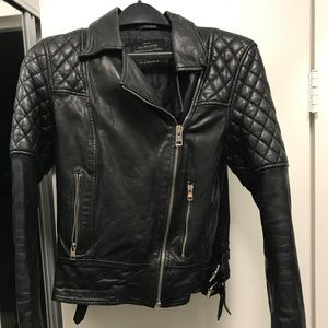 All saints black quilted 100% real leather jacket