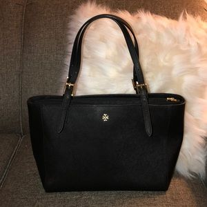 """Tory Burch SM Saffiano Leather """"York"""" Buckle Tote"""