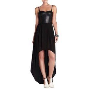 BCBG Maxazraia Leandra leather High-low dress
