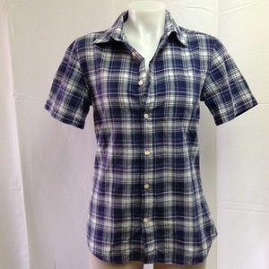GAP Women's Purple Plaid Button Down Shirt Small