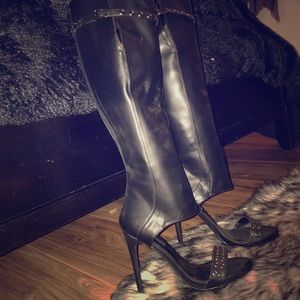 Open toe over the knee boots with heel