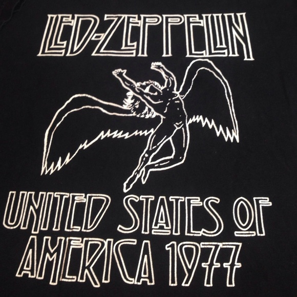*LED ZEPPELIN*   ~UNITED STATES OF AMERICA 1977~   Black Graphic T-Shirt