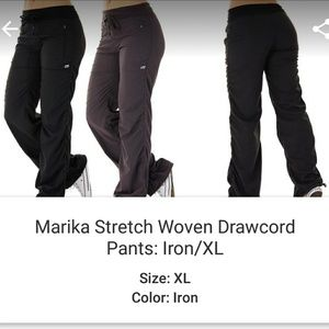 Stretch woven drawstring cord pants