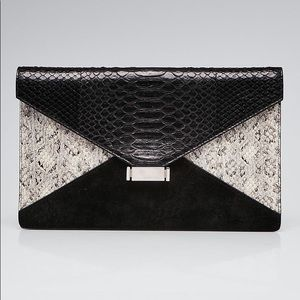 Black Python and Suede Diamond Clutch Bag
