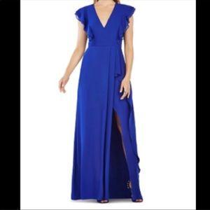 BCBGmaxazria Blue Flutter Sleeve Dress