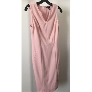 The Limited Ponte Split Neck Sheath Pink Dress