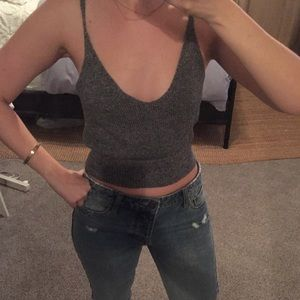 Nordstrom Grey Knitted Crop Sweater Tank
