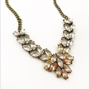 Clear Champagne Brass Jeweled Statement Necklace