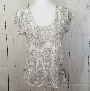 Lucky Brand White Floral Short Sleeve Shirt XS
