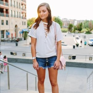 {Fab'rik} Lace Up Tee