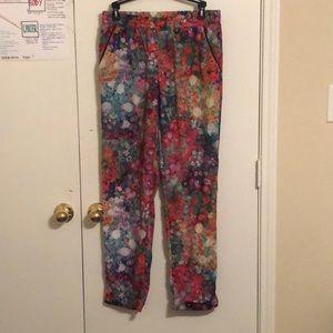 Watercolor Floral Print Skies Are Blue Pants