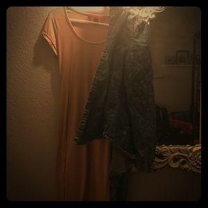 Midi Length Dress + Denim Button Up