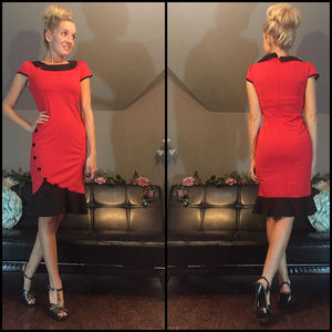Tailored Red Black Dress with Buttons and Ruffles