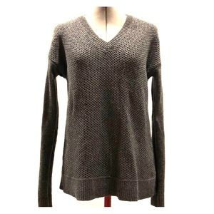 Warm Gray V-neck Wool Sweater