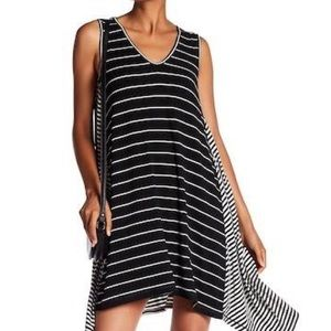 "MAX STUDIO ""Stripe Tank"" Black/White Trapeze Dress"