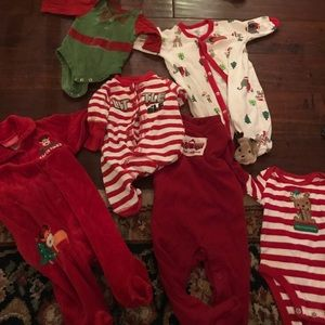 Other - Lot of 6 newborn or 0-3 month Christmas baby suits