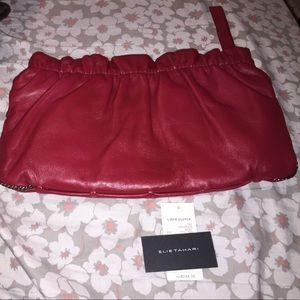 Elie tahari chili red 100%leather clutch