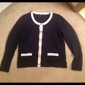 H&M navy/white button down sweater