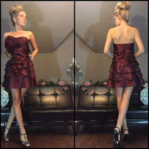 BCBG Burgundy Red Strapless Layered Couture Dress