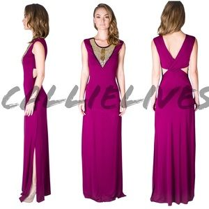 Dresses & Skirts - Magenta Purple Maxi Dress Gold Embellished Plunge