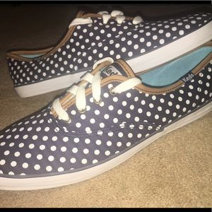 Navy, White, & Tan Polka Dotted Keds