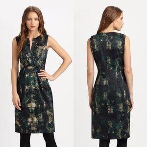 Elie Tahari Green Silk Charmeuse Sleeveless Dress