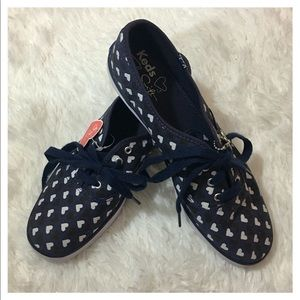 NWT Taylor Swift Blue w/ Black & White Hearts Keds