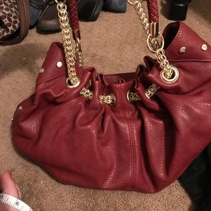 Olivia & Joy Maroon Purse Gold chain