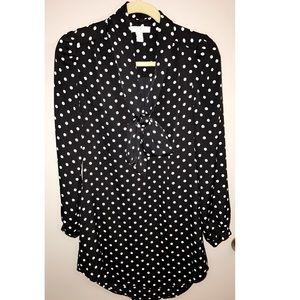 Black & White Polka Dot Shirt Tunic Dress