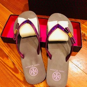 Tory Burch purple and gold flip flops