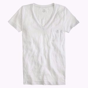 J. Crew Linen XS V-neck Tee in White Short Sleeve