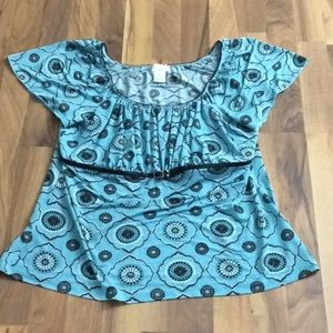 Maurices 1 Size 1X Blue Geo Print Boho Blouse