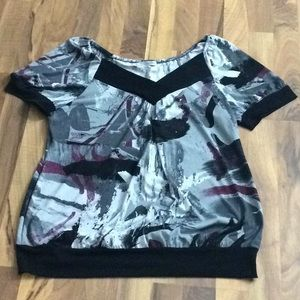 Maurices 1 grey 1X Artistic Print Stretch Blouse