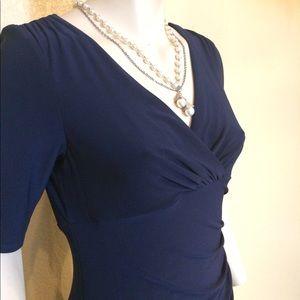 Ralph Lauren Navy Blue Faux Wrap Dress