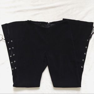 Vintage 90s Faux Suede Goth Bell Bottom Lace Pants