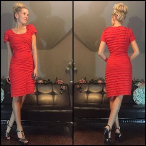 Red Layered Ruffle knee Length Mini Holiday Dress