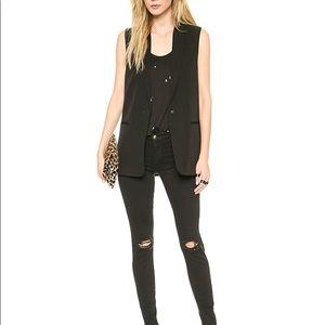 J Brand Poitier Black Tuxedo Vest