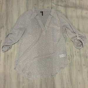 Maurices Sheer Polkadot Grey 3/4 sleeve top