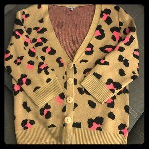 Sweaters - Carmel/hot pink leopard print cardigan