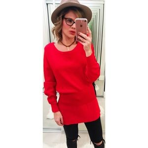 Zara Knit Red Ribbed Puff Sleeve Sweater
