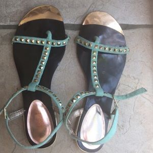 Shoes - Teal and gold sandals