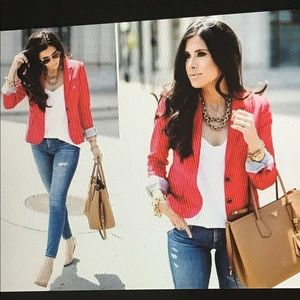 H&M  Women's red blazer Size 8
