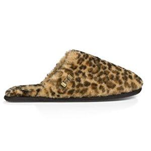 UGG Leopard Print Clog Sheepskin Slippers