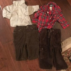 Other - 2 sets of plaid button downs and cursory pants