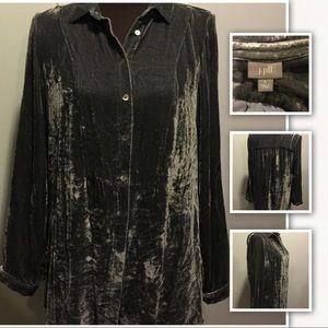 Charcoal Gray crushed Velvet Tunic J.Jill Size S