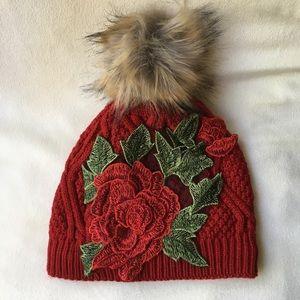 New red beanie Rose Pom Pom