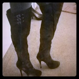 🆕*Thigh High Black Boots w/Silver Buckles*🆕 NWOT